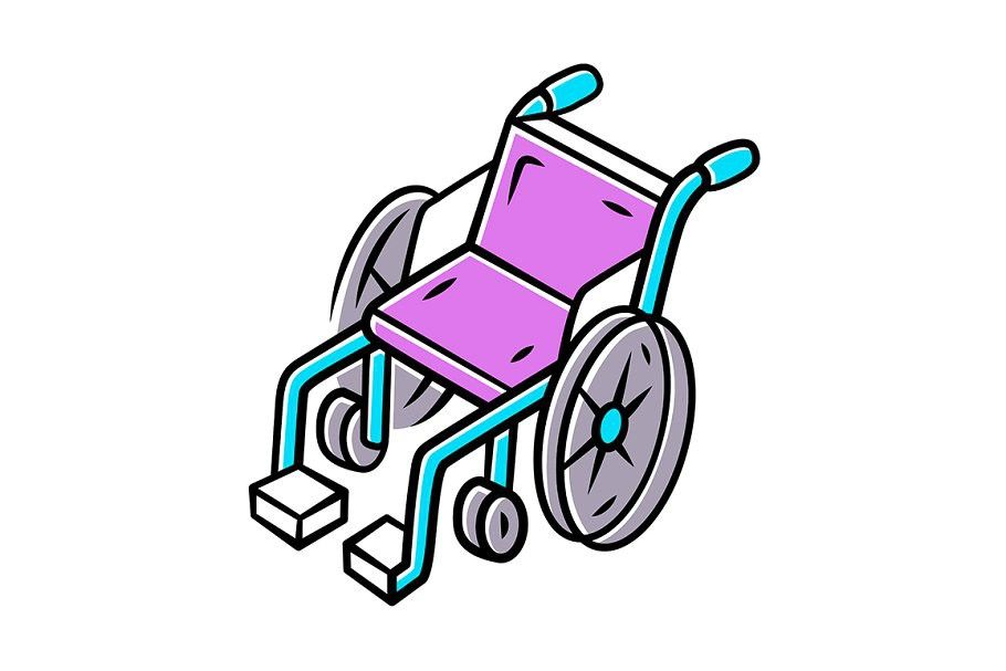 Manual Wheelchair Color Icon In 2020 Manual Wheelchair Wheelchair Pictogram Design