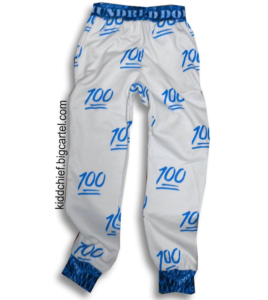 94c43bfe75d569 100 emoji Blue Joggers