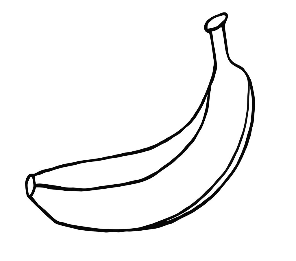 One Large Banana Coloring Page For Kids