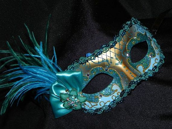 Masquerade Mask in Shades of Teal Turquoise by TheCraftyChemist07, $38.00