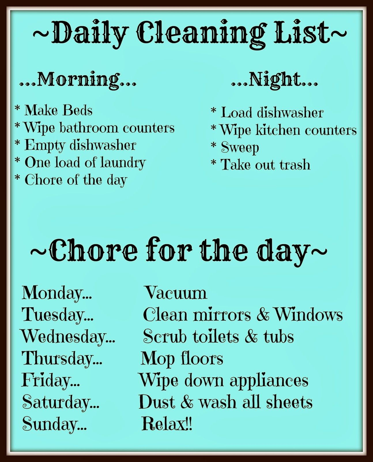 Must keep this chart in mind! ... In an organized life.. | ~ Clean ...