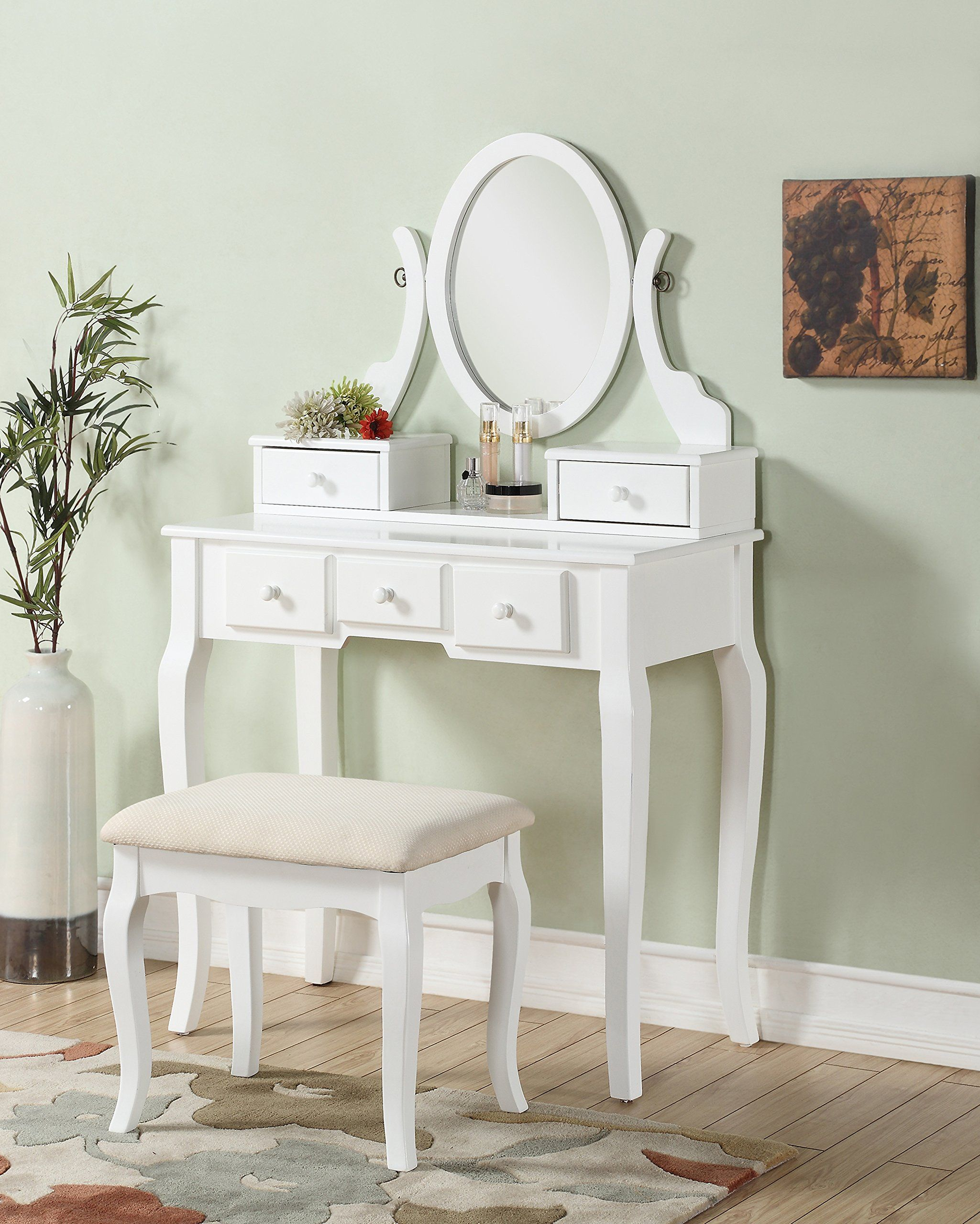 Roundhill furniture ashley wood makeup vanity table and stool set