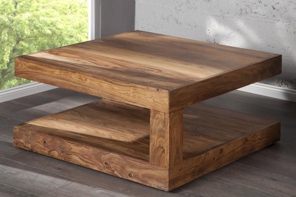 Riess Ambiente Massiver Edelholz Couchtisch Giant Xl Sheesham 90cm Tisch B H T 90 X 40 X 90cm Tischplatten Starke Ca 10cm Salontisch Holz Couchtisch Tisch