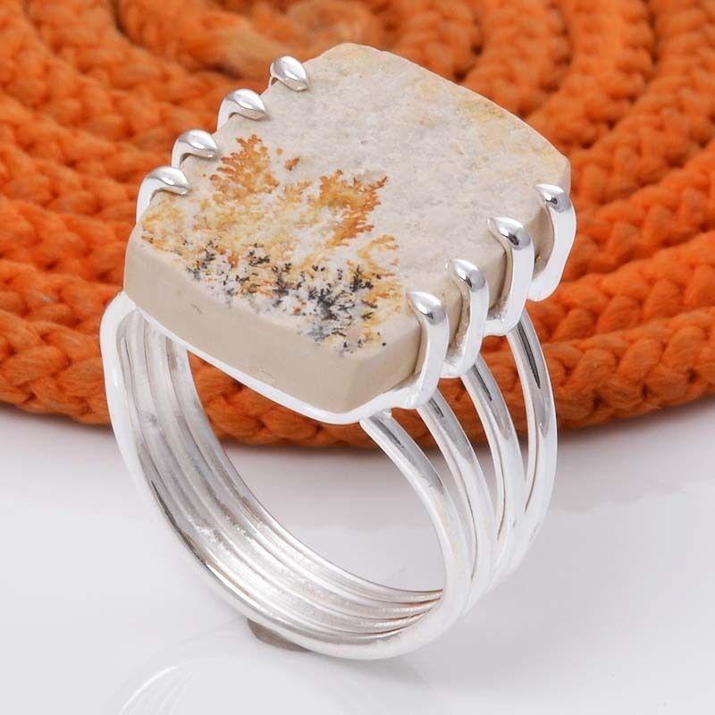 925 STERLING SILVER NEW DESIGNER SCENIC DENDRITEC AGATE RING 6.10g DJR5022 #Handmade #Ring