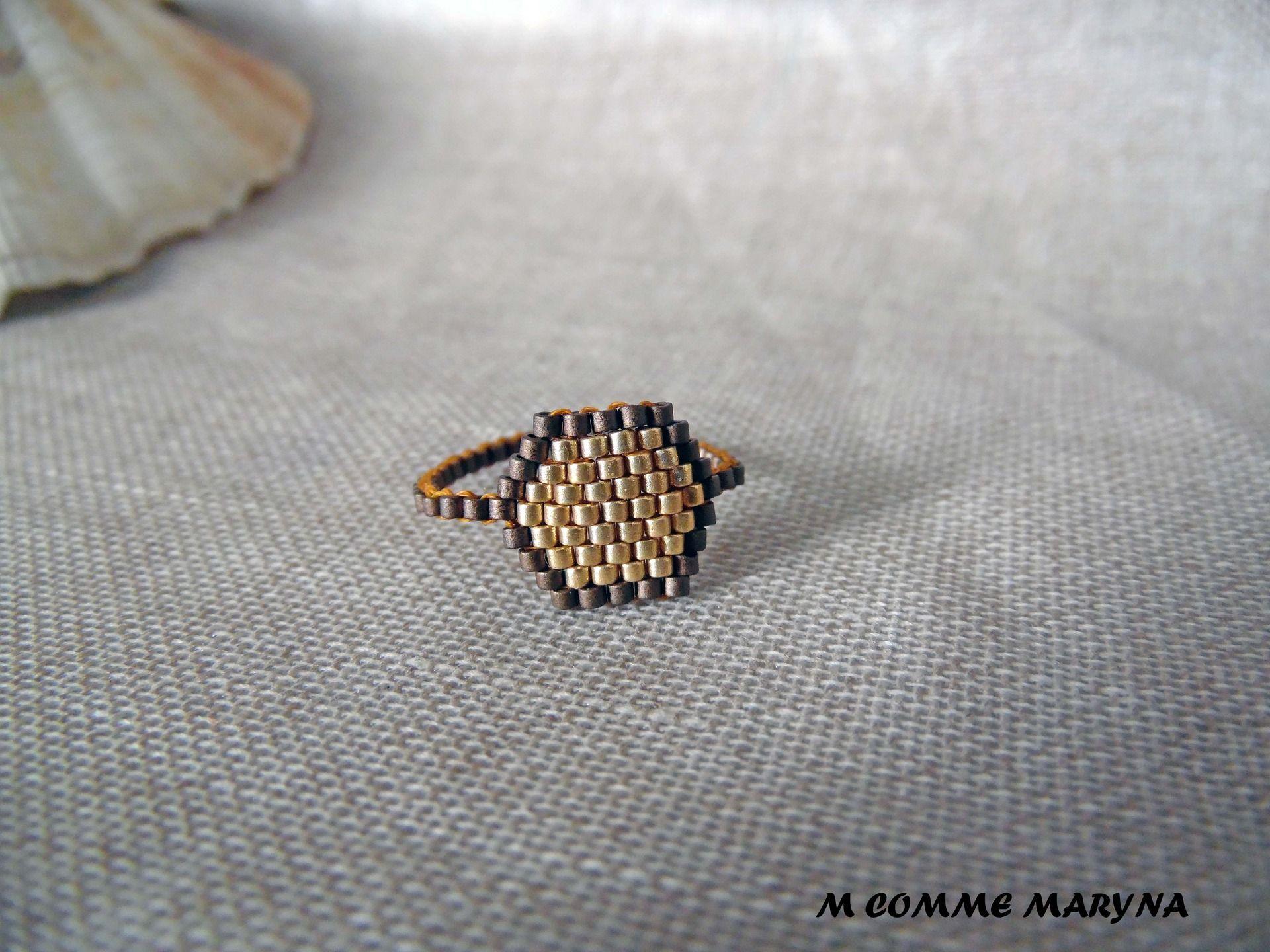 Bague tissée perles Miyuki Bronze et doré peyote Bohostyle Bohochic Bohemian. Taille de la bague 55-56 : Bague par m-comme-maryna