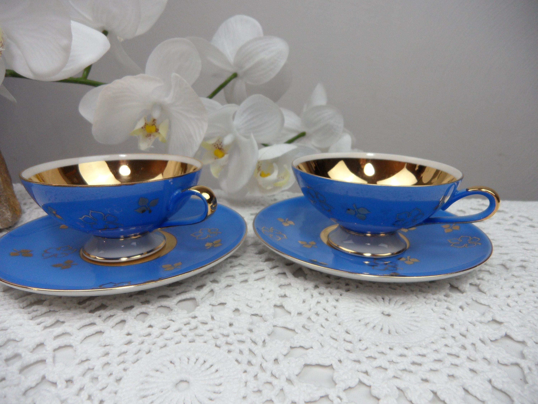 2 Blaue Espresseotassen Mit Golddekor Bavaria Mokkatasse Etsy Mokkatassen Altes Porzellan Porzellan