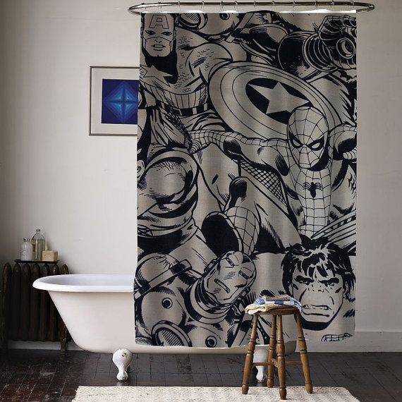 Marvel Super Heroes Comics Characters Special Custom By Curtainasu Superhero Shower Curtain Superhero Bathroom Boys Shower Curtain