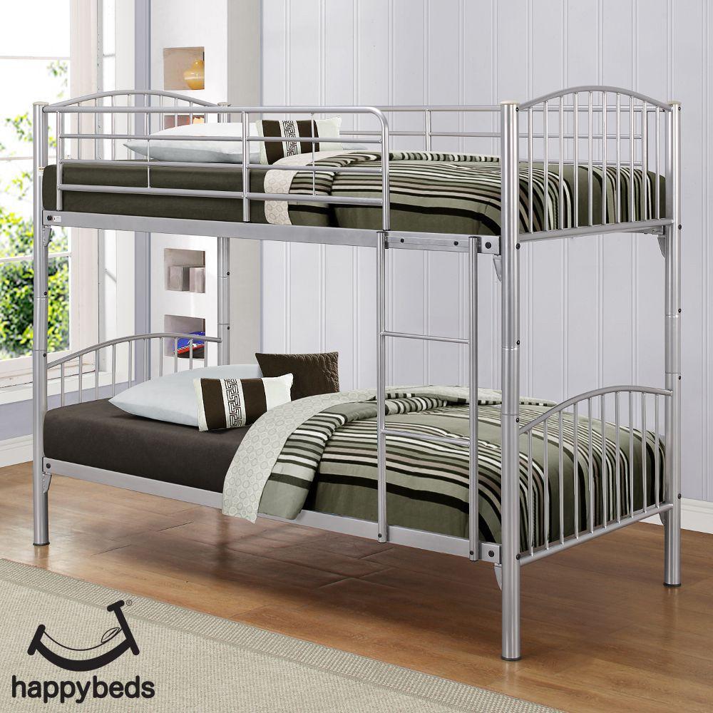Corfu Silver Finish Metal Bunk Bed Bunk Beds Modern Bunk Beds Metal Bunk Beds