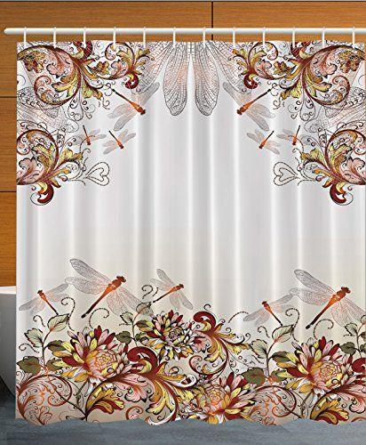 Ambesonne Flower Decor Collection Dragonfly Floral Pasto Https