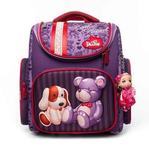 4a236d9a37 2018 Delune Large Capacity Girls Cartoon School Backpack Kids Orthopedic 5-8  Years Old Children Bear Pattern School Bag Backpack