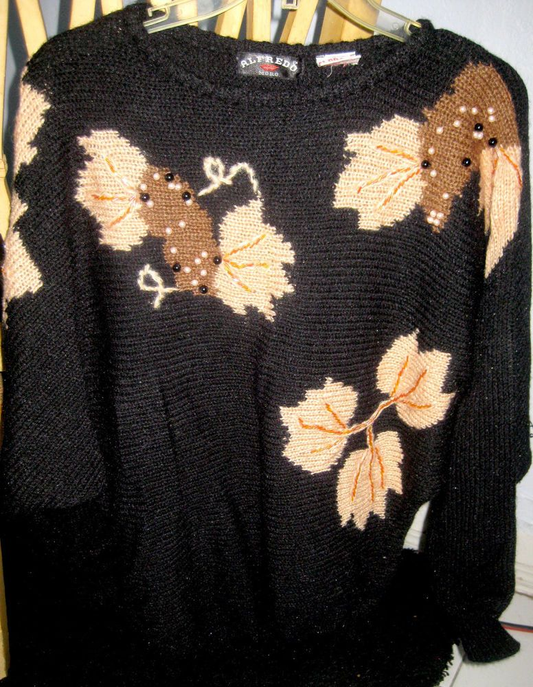 d5861439c6e Vintage 80 s Womens ALFREDO MORO Beaded Pearl Dolman Sweater BLACK TAN Sz S   fashion  clothing  shoes  accessories  womensclothing  sweaters (ebay link)