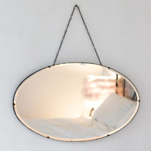 Vintage Oval Frameless Mirror With Chain Frameless Mirror Mirrors With Chains Mirror