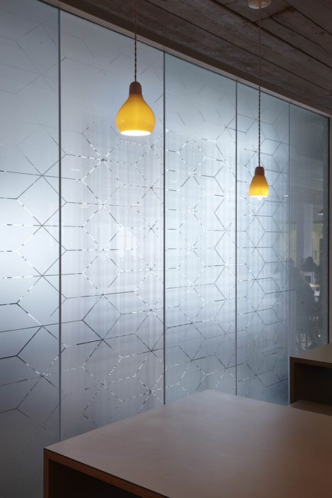 Semi-translucent glass by light geometric printed motifs ...