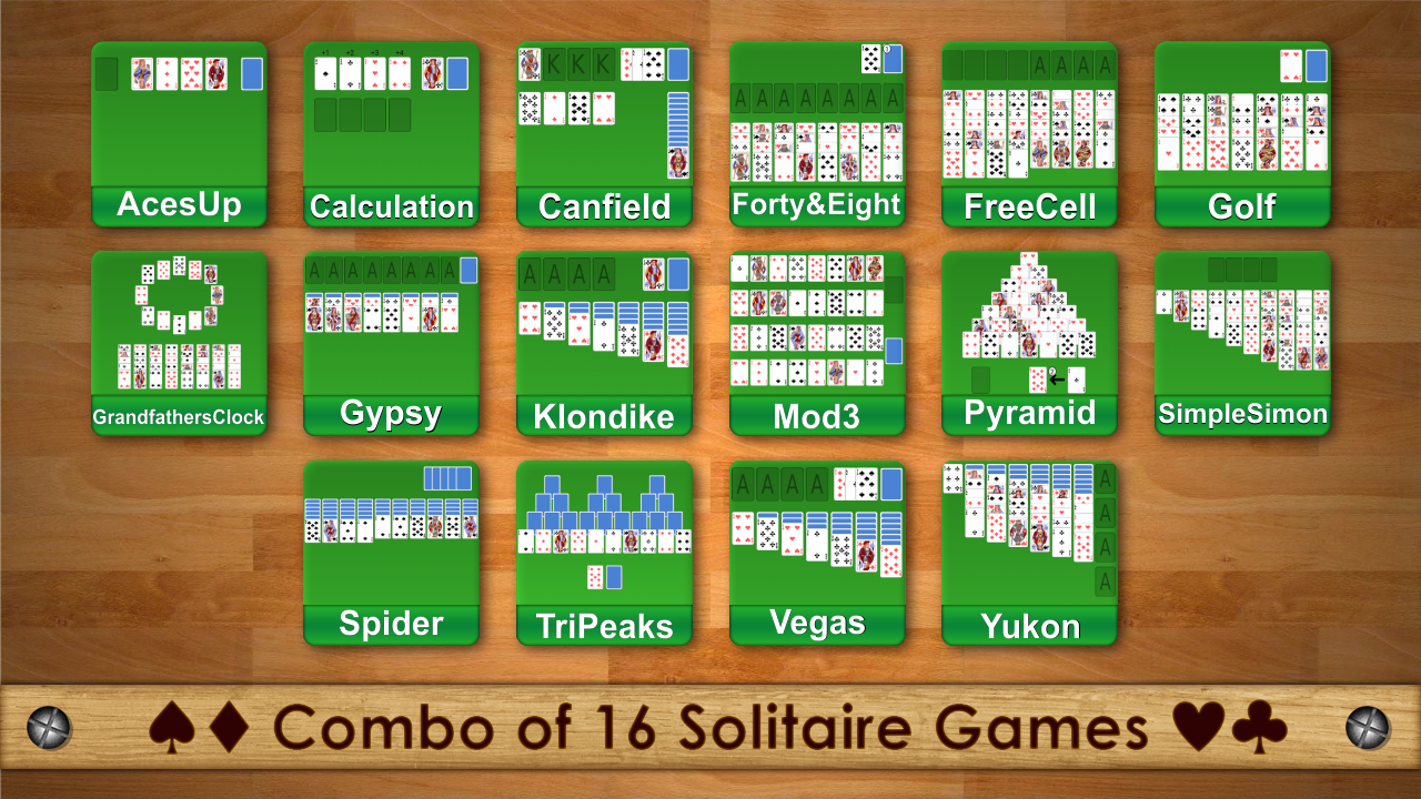 Introducing combo of sixteen solitaire cards game in
