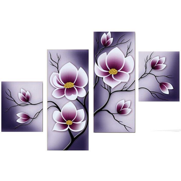 4pcs pintura púrpura combinación de flores impreso sobre lienzo sin ...