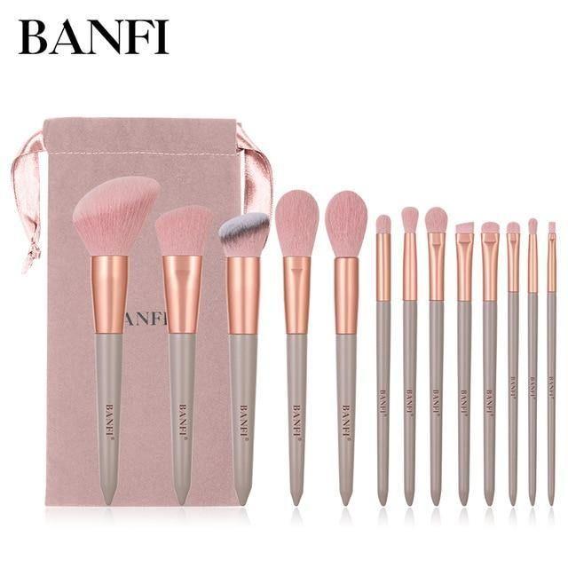 13PCs Makeup Brushes Set – 13 Stück pink mit Taschen