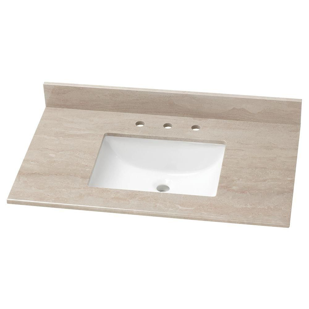Home decorators collection 37 in stone effects vanity top in kaiser grey with white basin se3722 kg the home depot