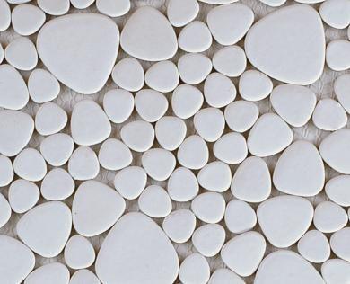 gamme mats galets japonais de coloris blanc en plaque de 26 x 26 cm poser au mur et au sol. Black Bedroom Furniture Sets. Home Design Ideas
