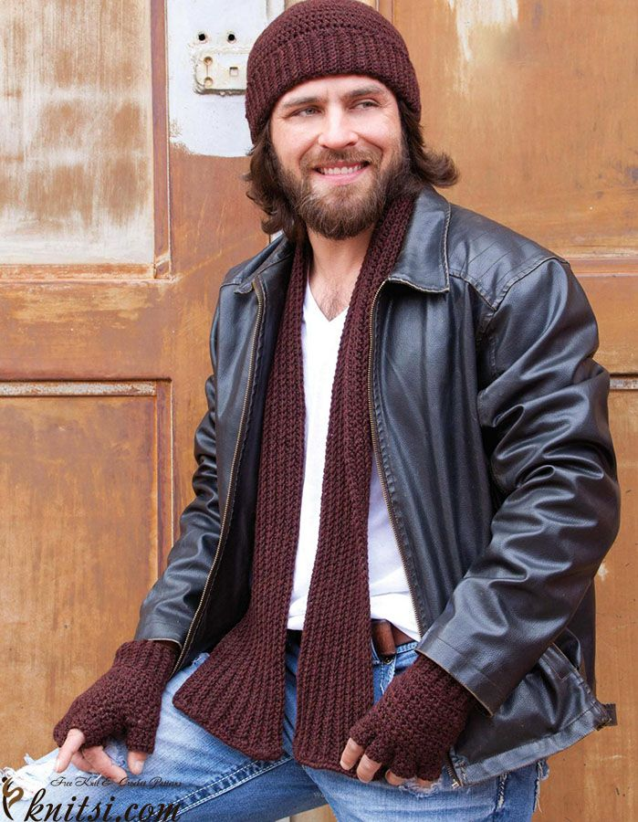 Mens Set Hat Scarf And Mitts Knitsihats Scarves For Men324