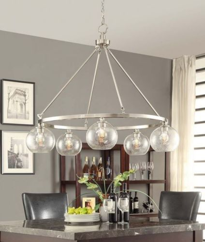Brushed Nickel Chandelier 5 Light Modern Contemporary Industrial Chic Retro