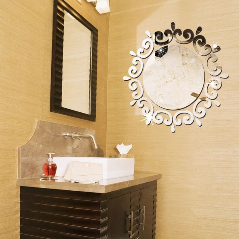46*46cm Creative Round with Lace DIY 3D Acrylic Mirror Surface Wall ...