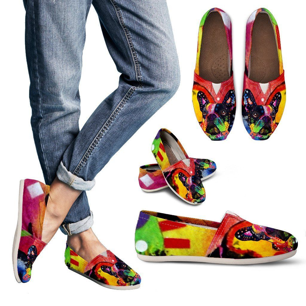 ab99799095254 French Bulldog Design Women's Casual Shoes - Dean Russo Art | French ...