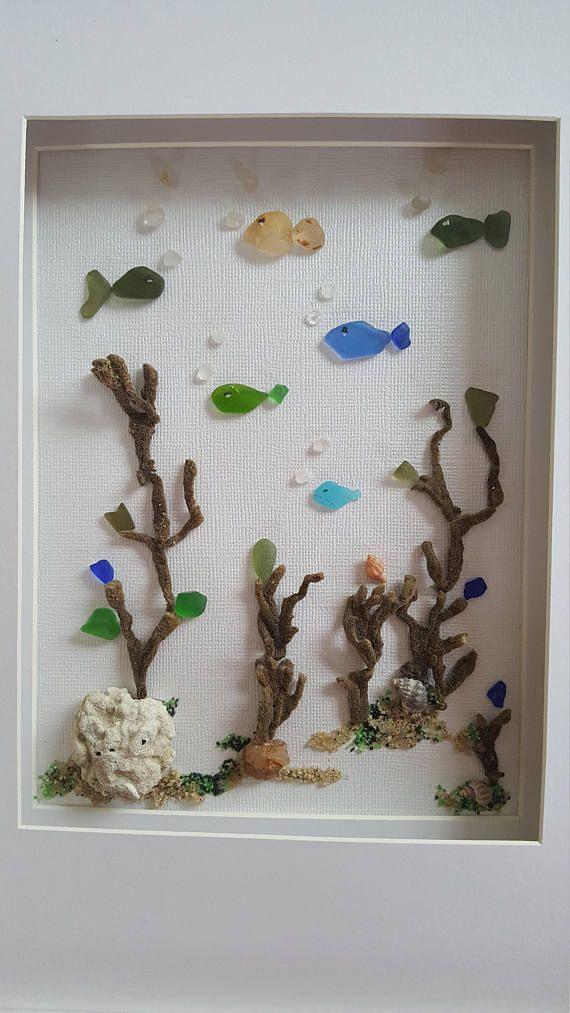 Sea glass art, framed sea glass bathroom wall decor, costal decor ...