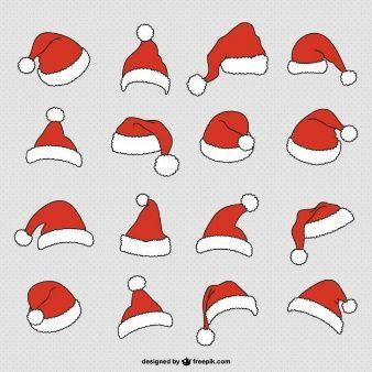 Vectores De Dibujos Animados 7 000 En Formato Ai Eps Y Svg Gorro De Papa Noel Sombrero De Papa Noel Gorros Navidad