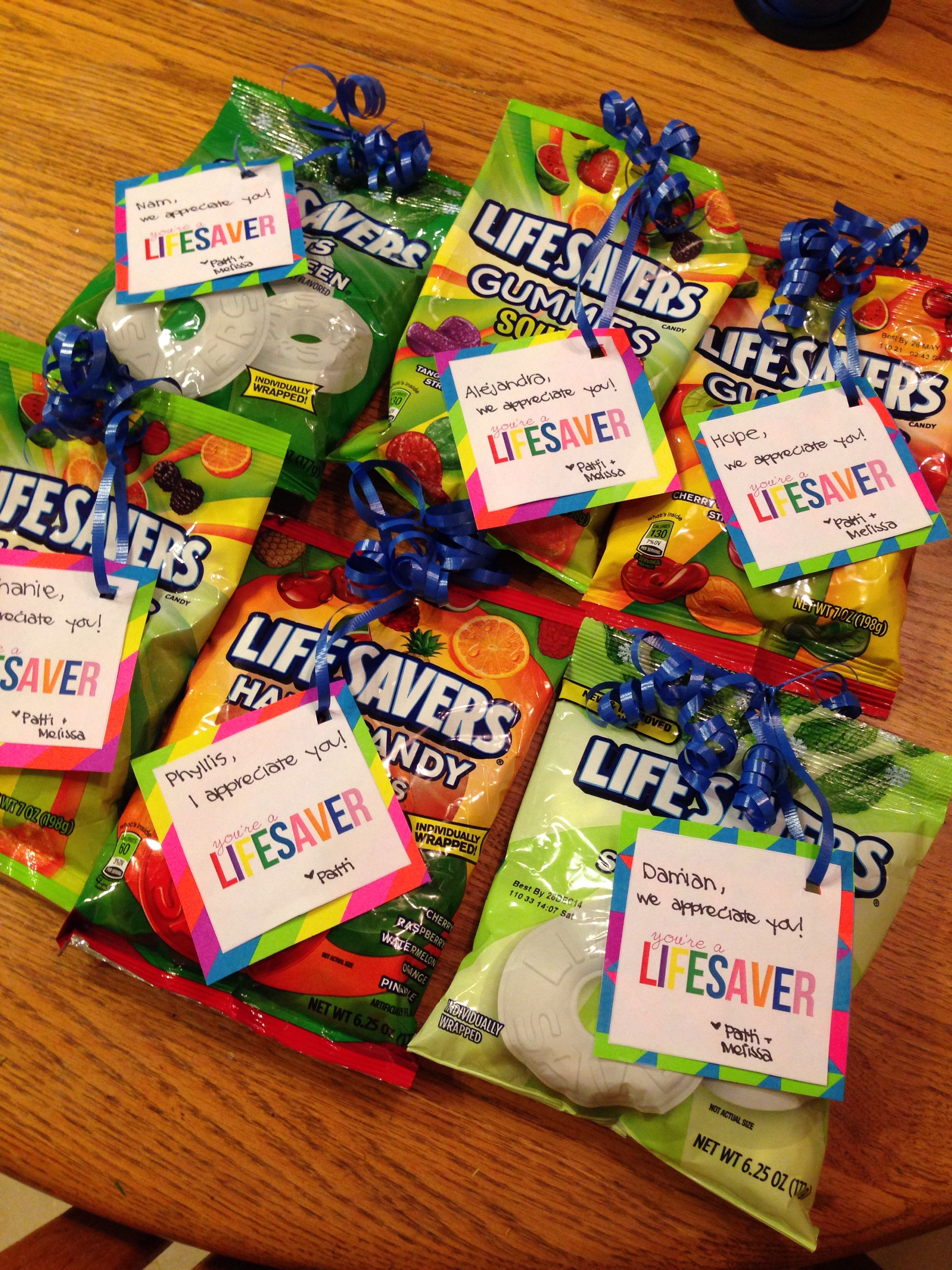 "employee appreciation gift idea. easy ""you're a lifesaver"" gifts"