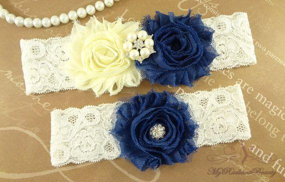 Bridal Garter Wedding Garter Set Shabby Chiffon by MRBBridal