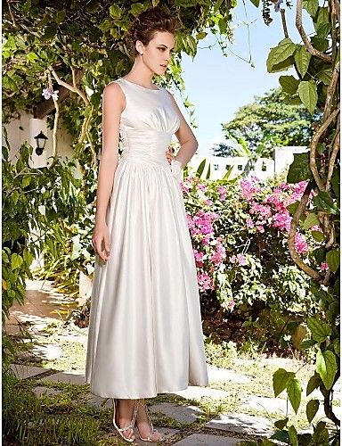 Lan Ting A-line/Princess Plus Sizes Wedding Dress - Ivory Ankle-length Scoop Satin 2016 - $119.99