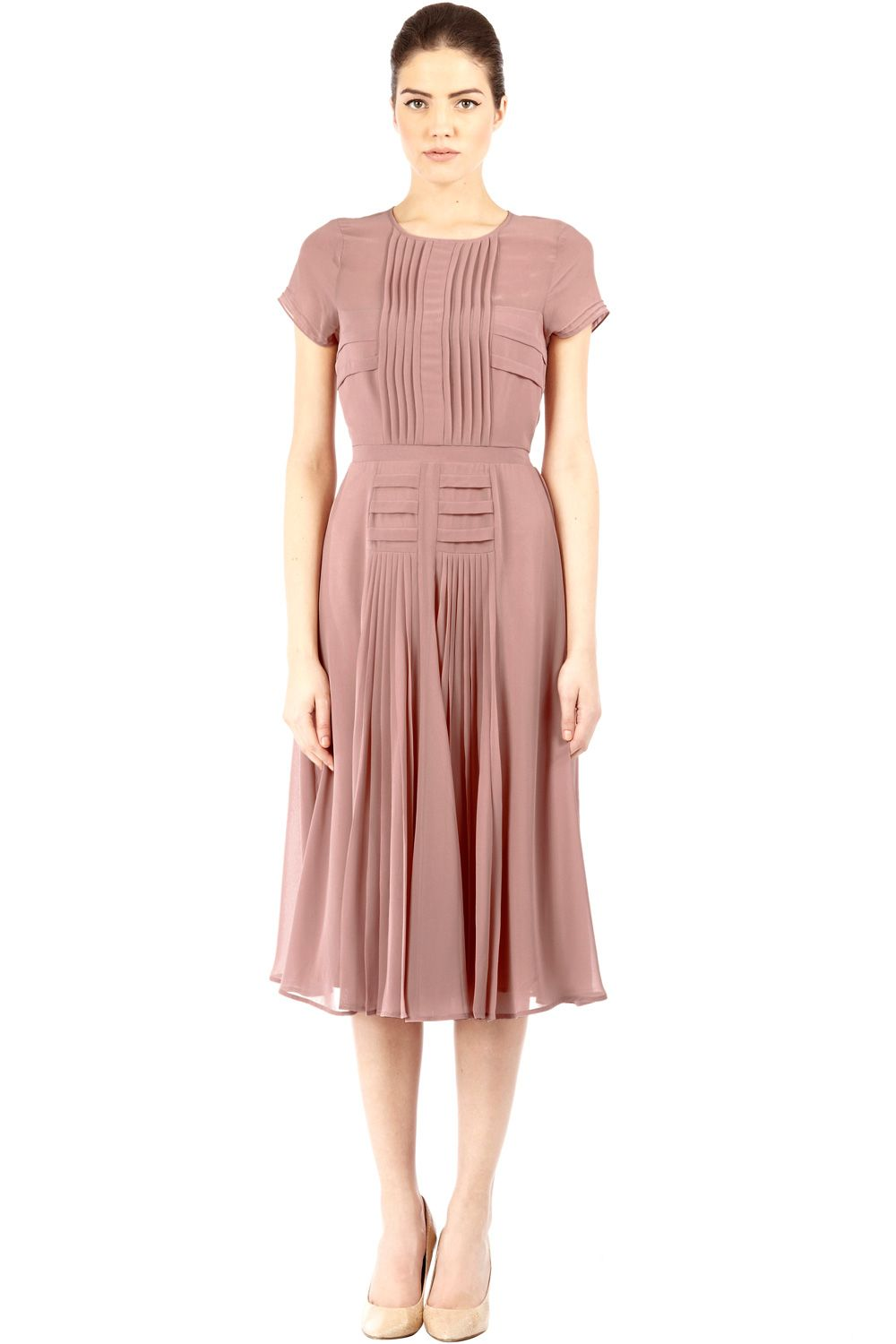 8b630bf87cd7 Nude | Pink Pleated Bodice Skirt Midi Dress. | Warehouse | clothes ...
