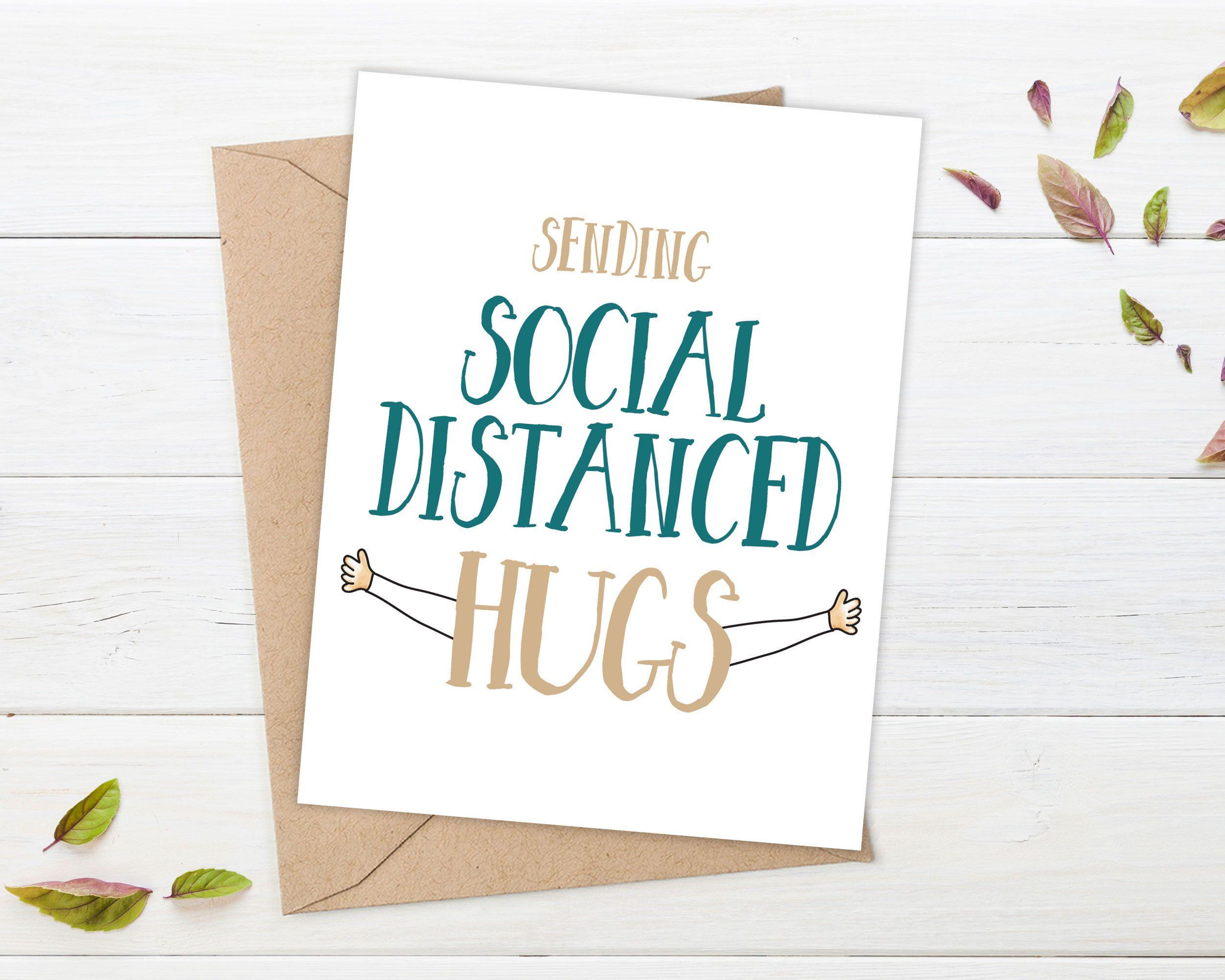 Social Distancing Card Socially Distanced Hug Social Distance Miss You Card Encouragement Social In 2020 Miss You Cards Cards For Boyfriend Engagement Cards Funny