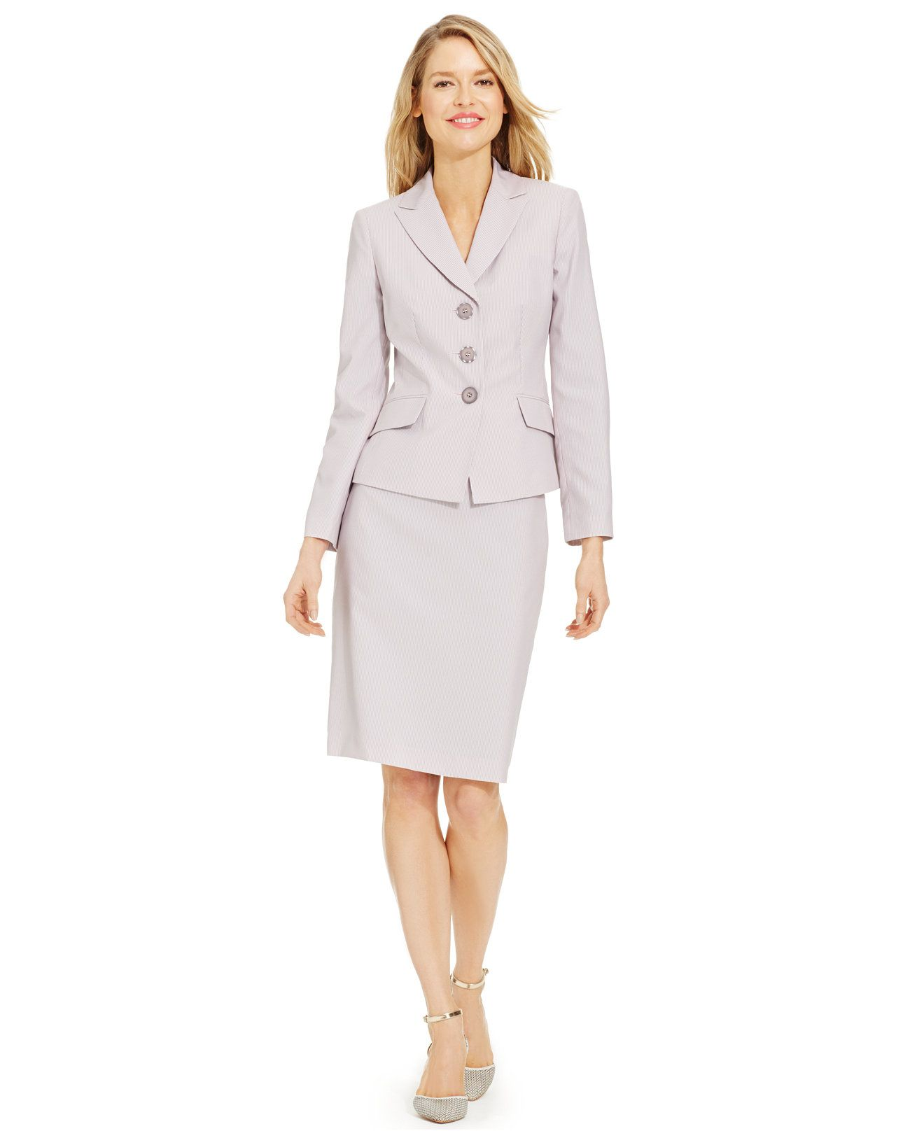 Le Suit Three-Button Pinstripe Skirt Suit - All Suits & Suit ...