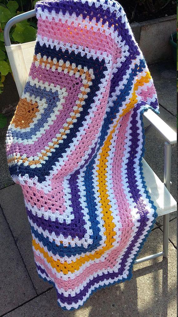 Ganchillo afgano cuadrado de abuela en varios colores Perfecto para ...