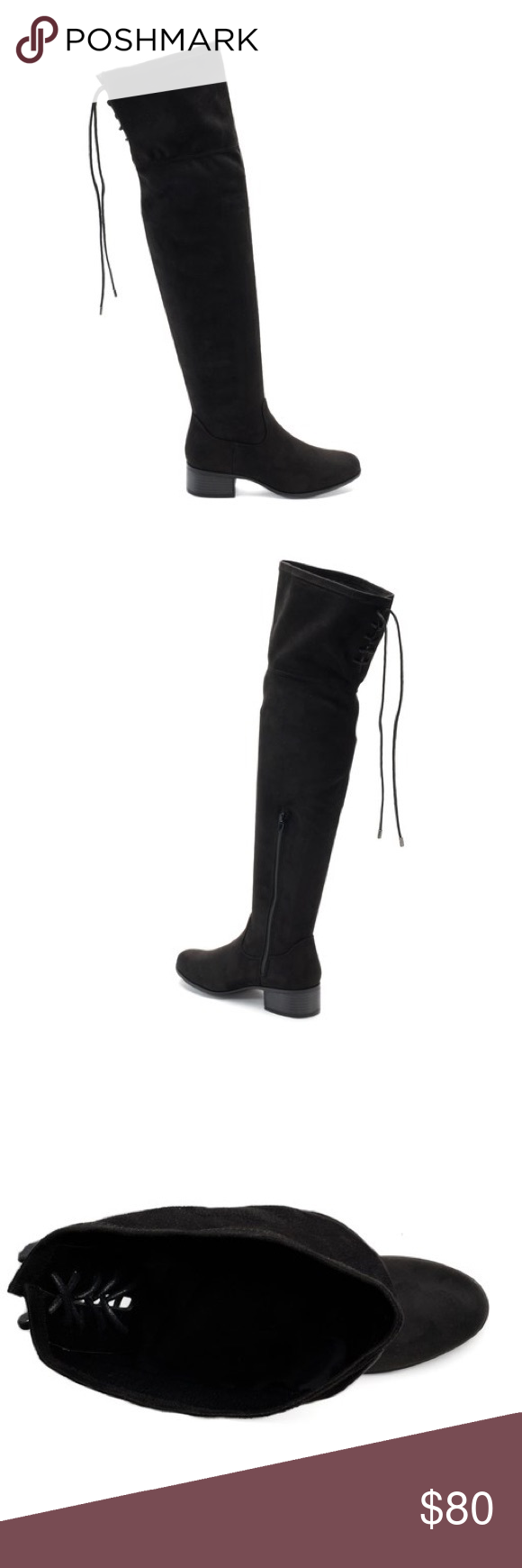 f9d0cdb409d Madden NYC Black Over The Knee Tall Tie Boots 6 Make a stunning statement  with these
