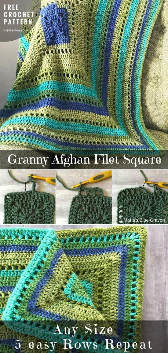 Granny Afghan Filet Square Crochet Pattern Free   Pinterest   Stoffe ...