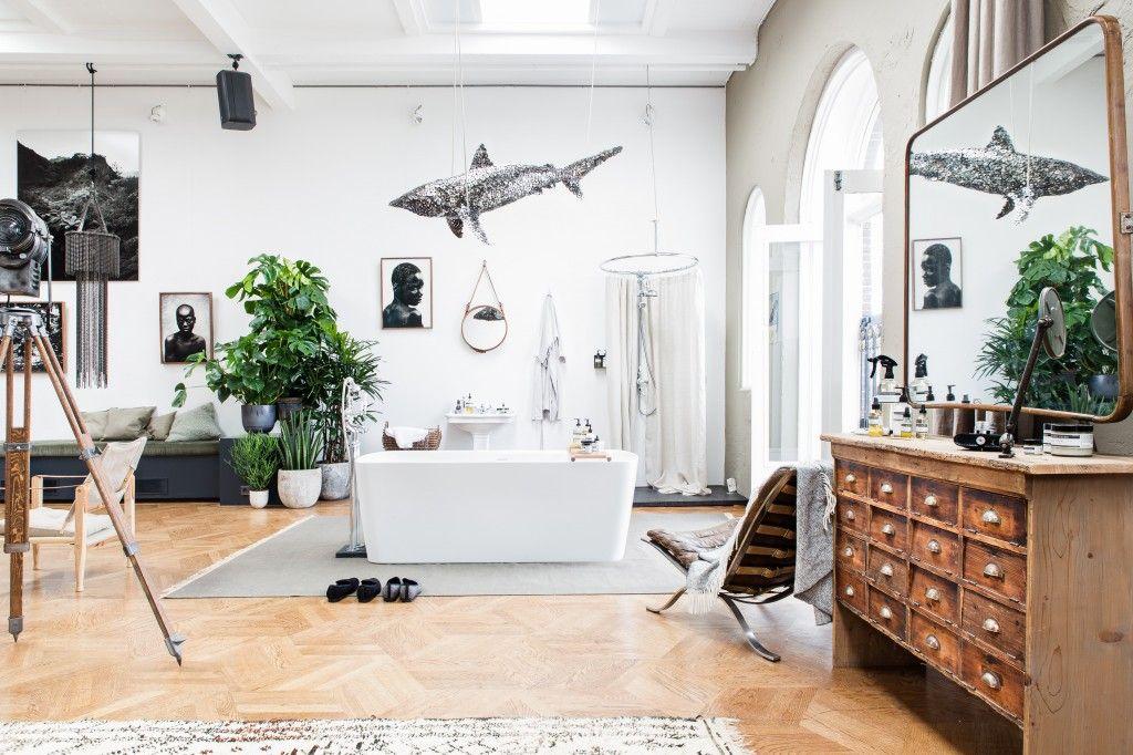 The Loft, Amsterdam, interieur, woonkamer, badkamer, planten ...