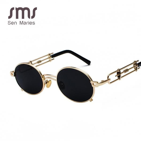 Women's Sunglasses Vintage Steampunk Retro Metal Round Black Red Clear Lens GVB896 Ships From The USA
