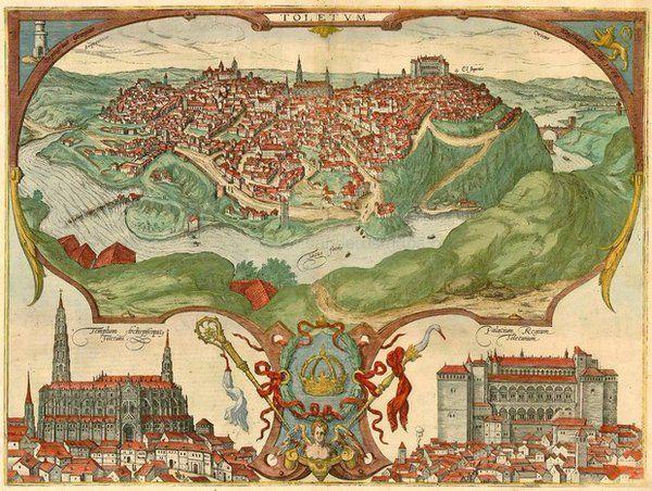 Mapa de Toledo en España, desde Civitates Orbis Terrarum de Georg Braun y Francisco Hogenberg de 1596