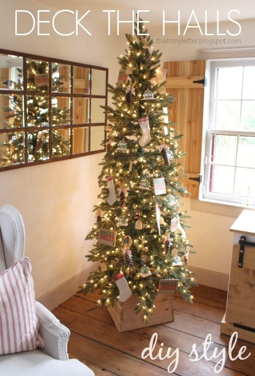 Sharing My Diy Decorated Tree Today Complete With Ornaments You Can Make Yourself Including A Pencil Christmas Tree Slim Christmas Tree Country Christmas Trees