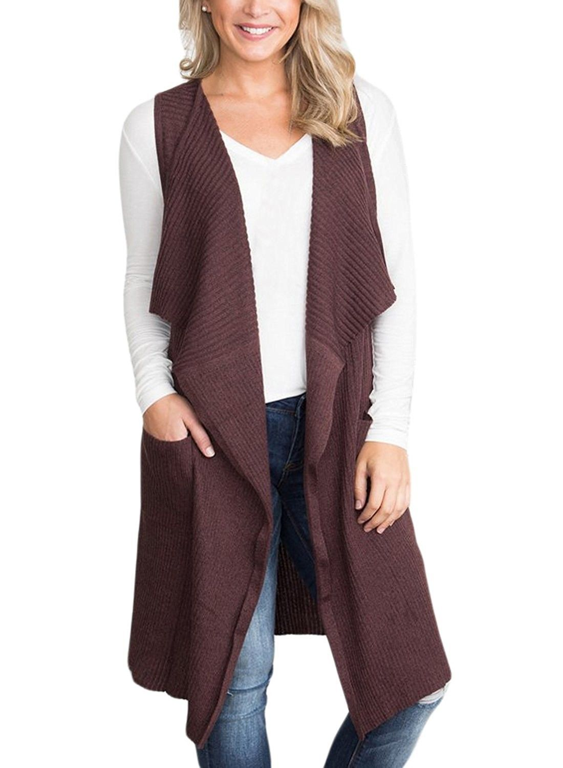 FTCayanz Womens V Neck Jumpers Winter Sweater Sleeveless Vest Cardigan with Pockets