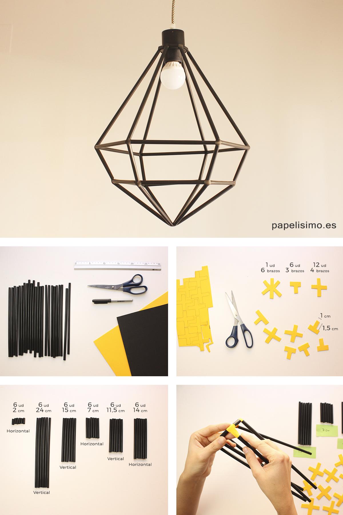 Lampara con pajitas diy straws lamp paso a paso | Papelisimo ... for Diy Geometric Lamp  14lpgtk