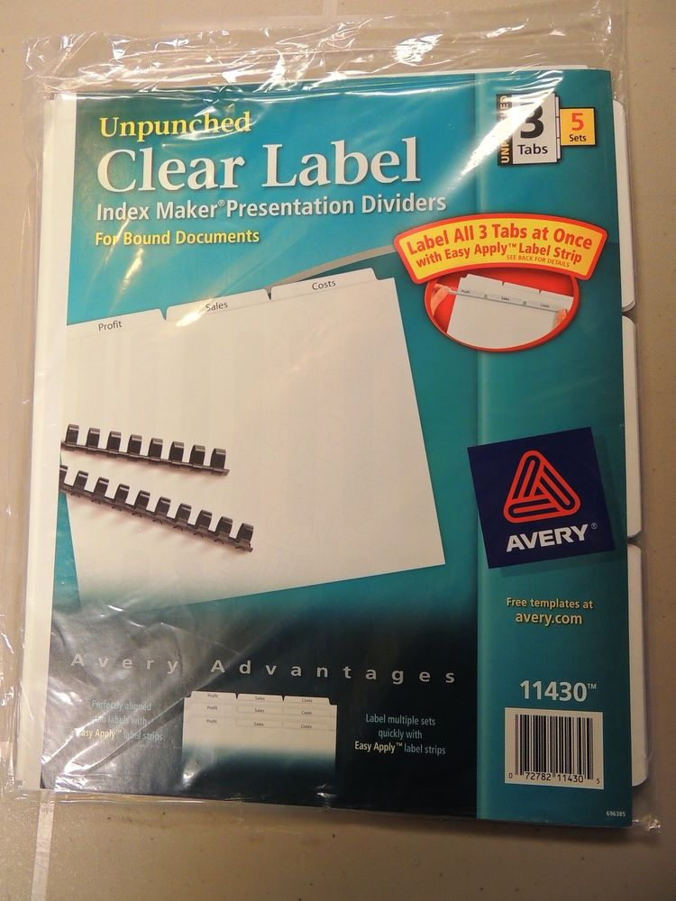 avery 11430 index maker clear label unpunched divider 3 tab 5
