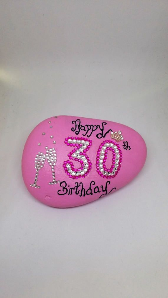 30th Celebration Birthday Stone Can Be Given In Place Of A Card And Will Last For Years Original Pink Acrylic Hand Painted Decorated With Big