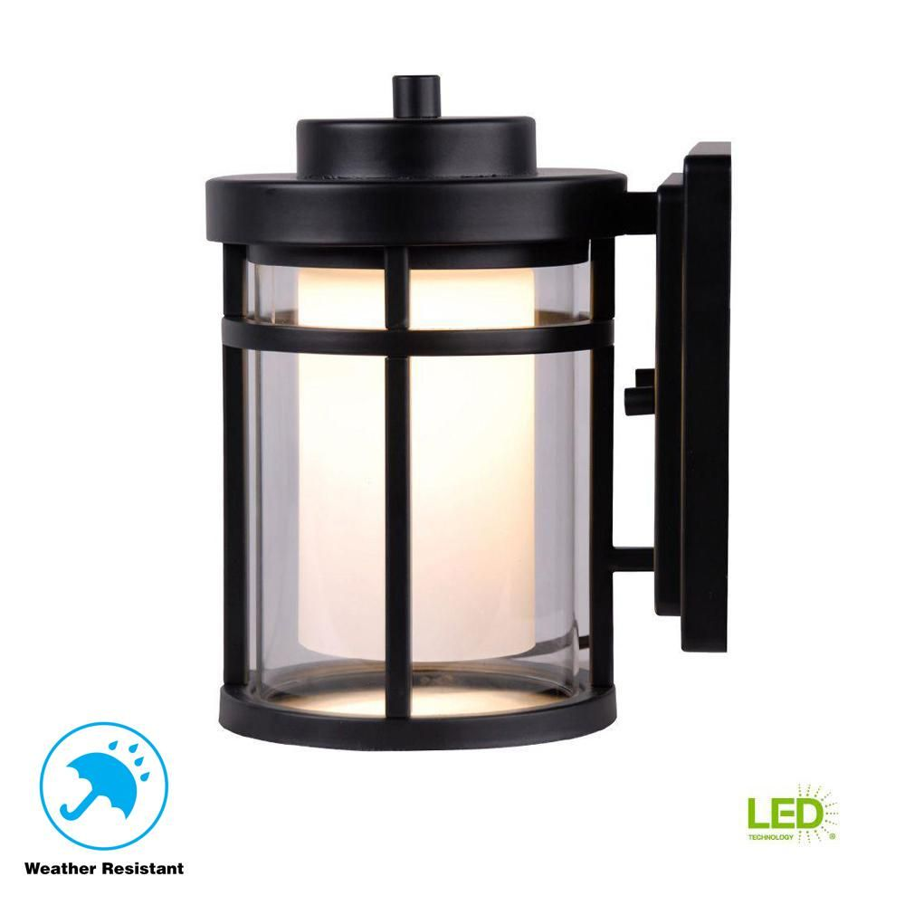 Home Decorators Collection Black Outdoor Led Small Wall Light Dw7031bk The Home Depot Wall Lights Black Outdoor Wall Lights Outdoor Wall Lighting