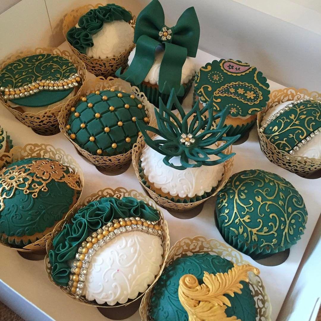 Emerald green mehndi cupcakes, part of a Mehndi table order