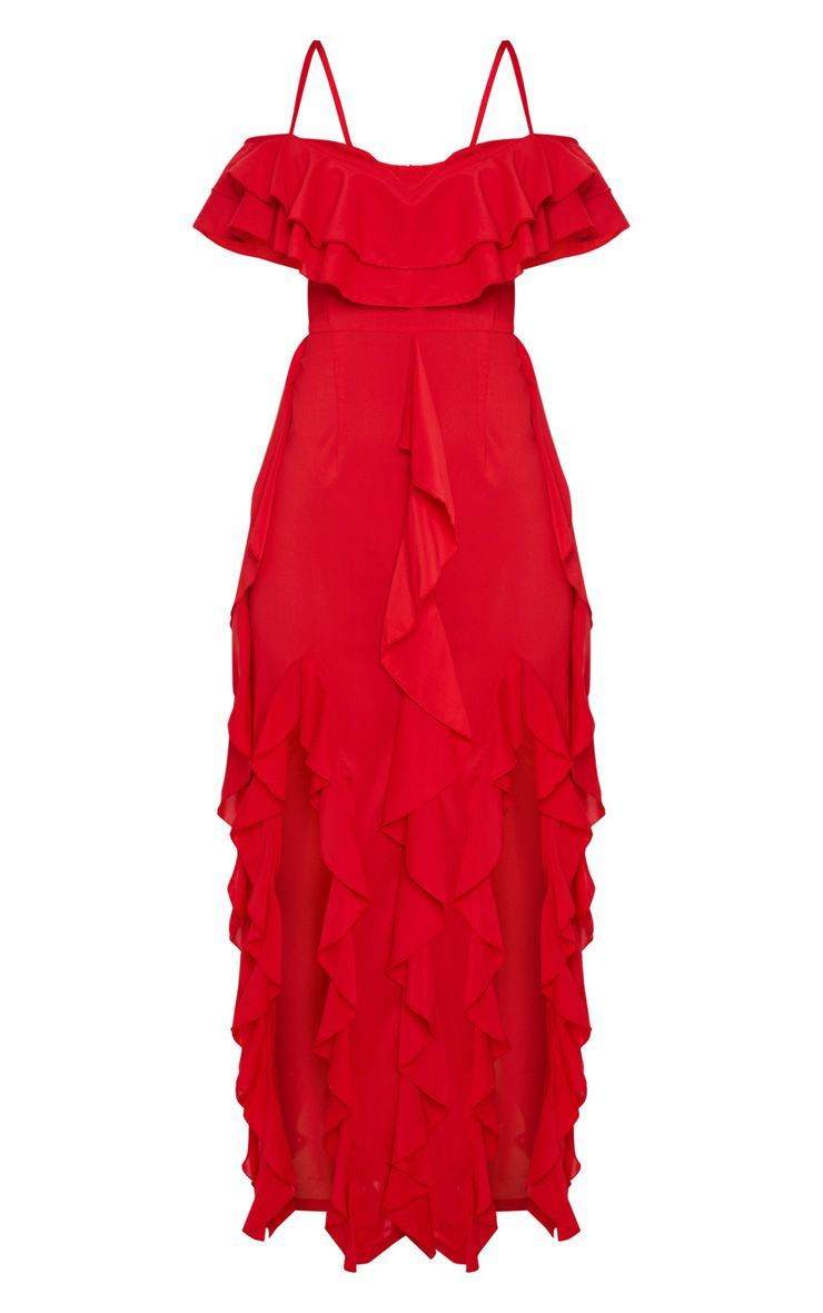 Red Cold Shoulder Ruffle Detail Maxi Dress Red Dress Outfit Maxi Dress Red Ruffle Dress [ 1180 x 740 Pixel ]