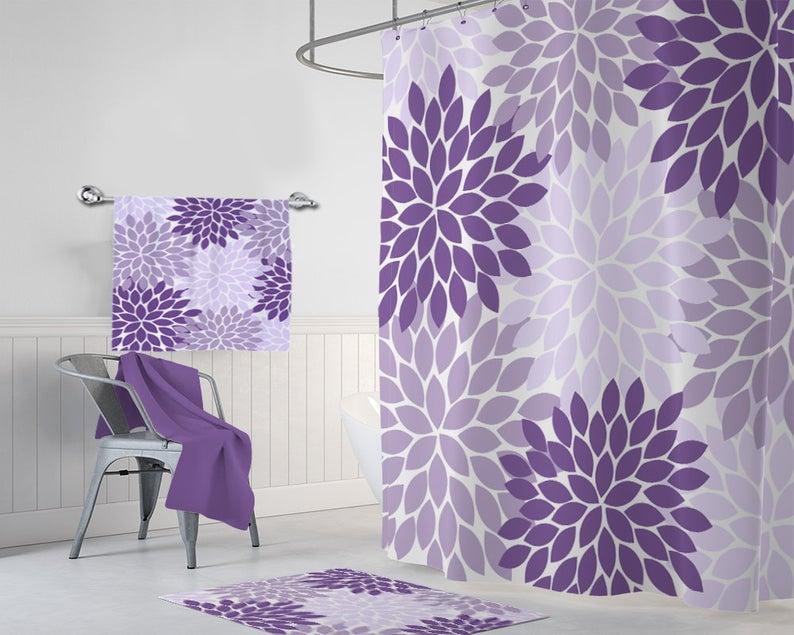Purple Flower Shower Curtain Purple Lavender Flower Bathroom