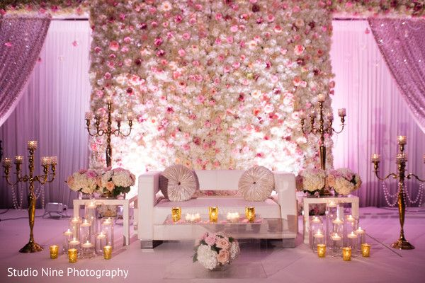 Stunning pink themed reception stage httpmaharaniweddings floral wall by rangoli weddings in 12 enchanting floral and decor ideas for your indian wedding junglespirit Images